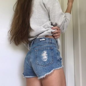 Brandy Melville button-front denim shorts